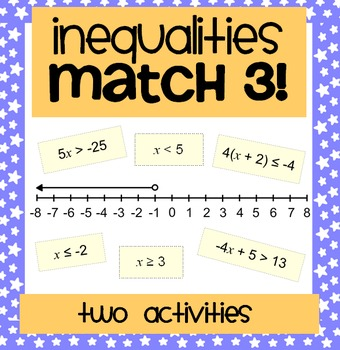 Solving One & Two Step Inequalities: A Matching Activity