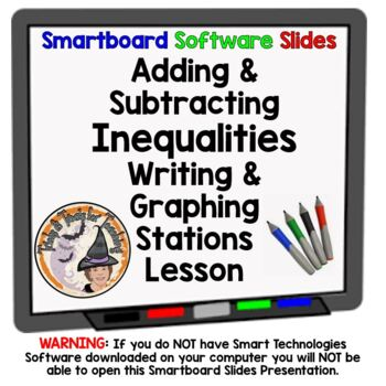 Inequalities Adding and Subtracting Smartboard with Statio