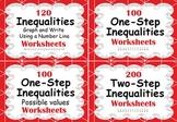 Inequalities Worksheets Bundle - One-Step & Two-Step