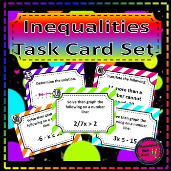 Inequalities Card Set - Great unit or STAAR Review