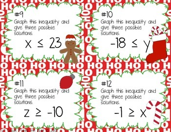 Inequalities - Christmas Edition! CCSS 6.EE.5 Aligned**
