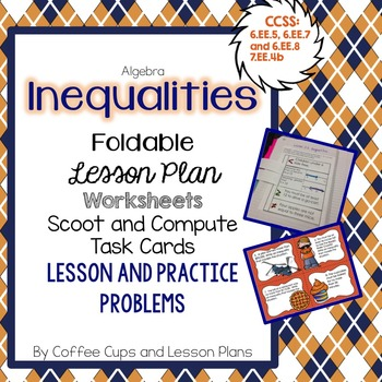 Inequalities Foldable for Interactive Notebook  with Lesson Plan & Worksheets