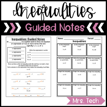 Inequalities Guided Notes