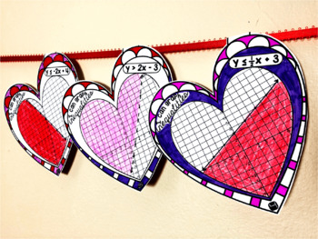 Inequalities Hearts Math Pennant for Valentine's Day