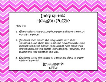 Inequalities Hexagon Puzzle- 6.EE.8