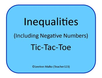 Inequalities (Including Negative Numbers) Tic-Tac-Toe