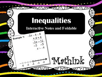 Inequalities Interactive Notes (Foldable) and PowerPoint P