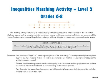Inequalities Matching Activity - Level 2