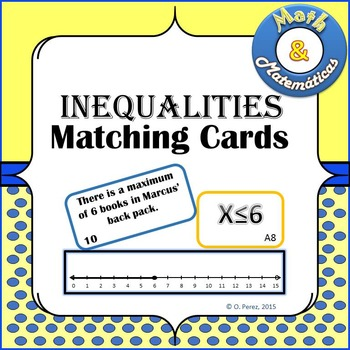 Inequalities Matching Cards - Graphing, Verbal Description and Inequality