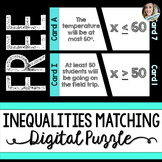 Inequalities Matching Puzzle - GOOGLE EDITION - Distance Learning