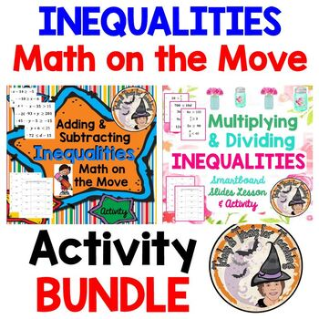 Inequalities Math on the Move Activity BUNDLE Add Subtract Multiply Divide