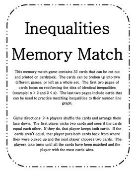 Inequalities Memory Match