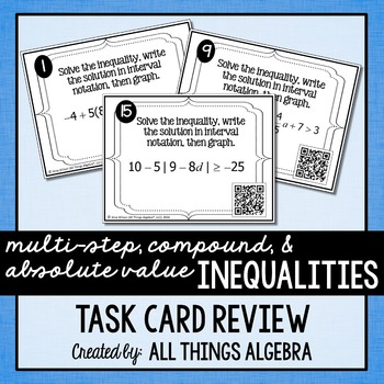 Inequalities (Multi-Step, Compound, and Absolute Value) Ta