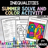 Inequalities No Prep Solve and Color Activity - Summer Theme