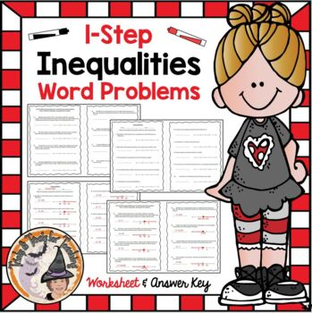 Inequalities One Step Word Problems Practice Worksheet 1-step Inequality Graph