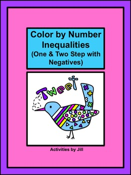 Inequalities (One and Two Step with Negatives) Color by Number