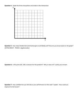 Inequalities Performance Task, Checklist and Rubric