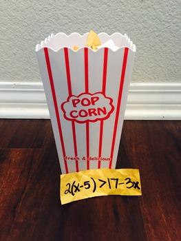 Inequalities Popcorn Math: Multi-Step Inequalities
