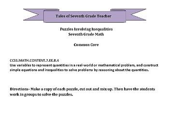 Inequalities Puzzles Seventh Grade Math