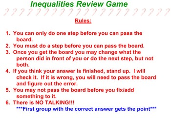 Inequalities Review Game