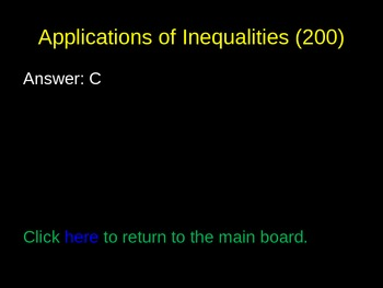 Inequalities Review PowerPoint Game
