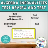 Inequalities Review and Test