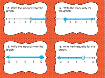 Inequalities Scoot and Compute Task Cards