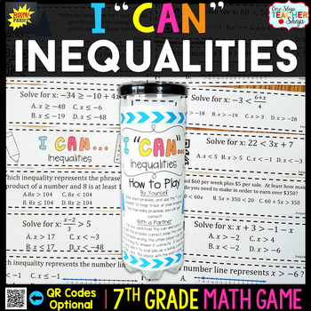 7th Grade Inequalities Game - 7th Grade Math Game