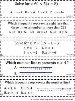 7th Grade Inequalities Game | 7th Grade Math Review