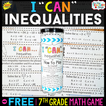 7th Grade Inequalities Game I Can Math Games By One Stop Teacher Shop