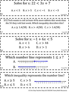 7th Grade Inequalities Game   I CAN Math Games by One Stop ...