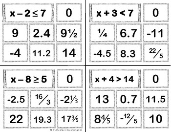 Inequalities Solutions Card Sort TEKS 6.10A, 6.10B
