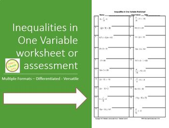 Inequalities - Solve & Graph - Worksheet or Assessment DIFFERENTIATED