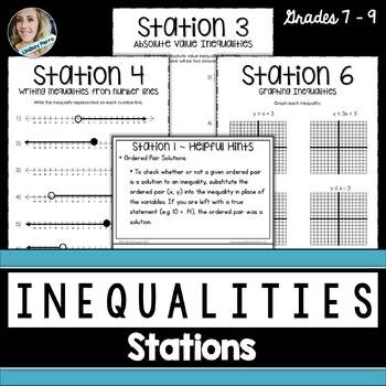 Inequalities : Middle School Math Stations