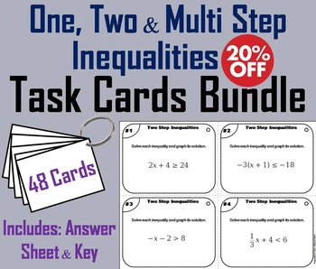 Solving Inequalities Task Cards (One, Two & Multi Step) 6th 7th 8th 9th Grade