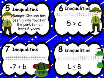 Inequalities Task Cards - Camping