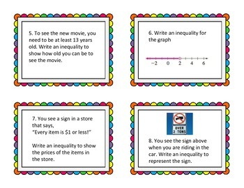 Inequalities Task Cards and Scavenger Hunt (Common Core Aligned 5th 6th)