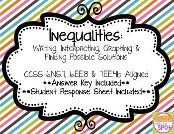 Inequalities Task Cards - Writing, Interpreting, Graphing CCSS 7.EE.4b & 6.EE.8