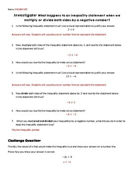Inequalities Task: Investigate multiplying or dividing inequalities by negatives