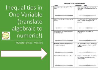 Inequalities - Translating Algebraic to Verbal - with Graphing