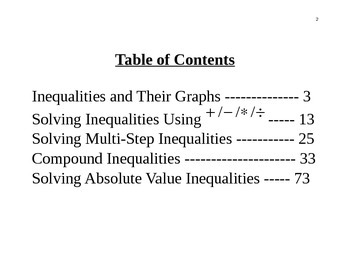Inequalities Unit