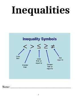 Inequalities Unit Packet