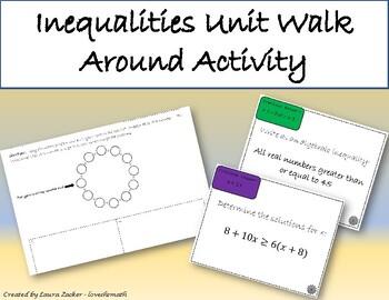 Inequalities Unit Walk Around Review Activity