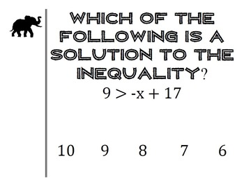Inequalities Walk About Activity