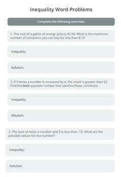 Inequalities: Word Problems