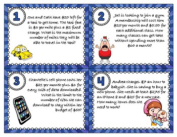 Inequality Word Problems Task Cards