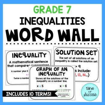 Inequalities Word Wall - Grade 7