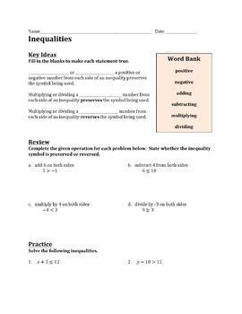 Inequalities Worksheet