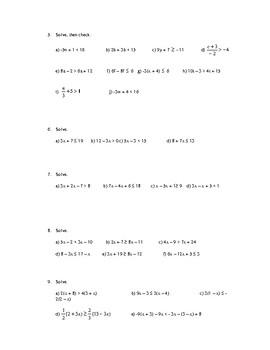 Inequalities Worksheet w/Answer Key