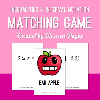 Inequalities and Interval Notation Matching Card Game
